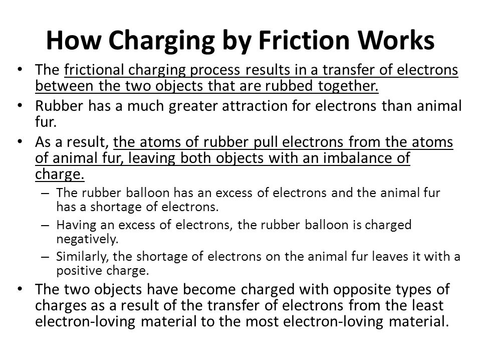 Frictional Charging Demo Frictional charging is often demonstrated in Physics class.