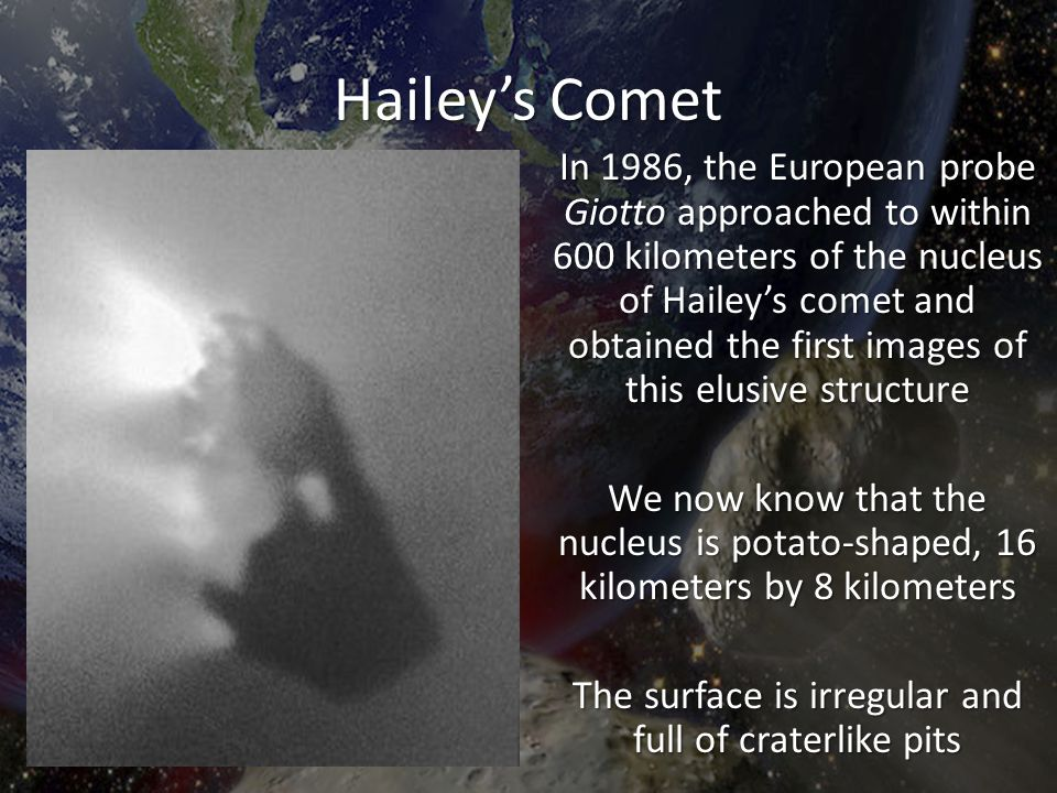 Hailey's Comet In 1986, the European probe Giotto approached to within 600 kilometers of the nucleus of Hailey's comet and obtained the first images o