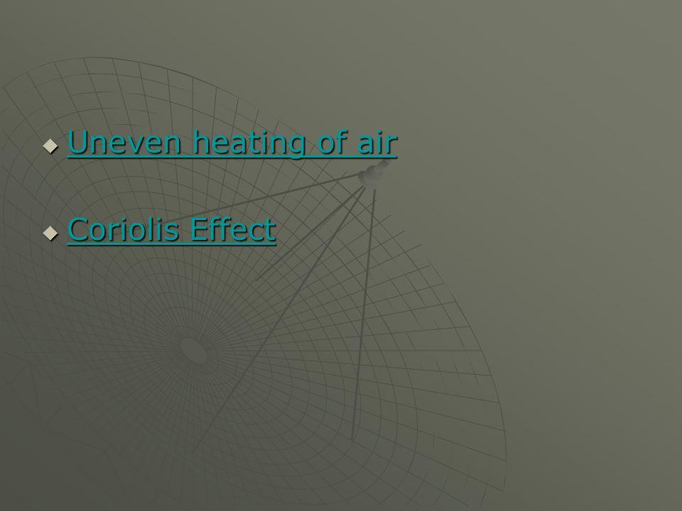  Uneven heating of air Uneven heating of air Uneven heating of air  Coriolis Effect Coriolis Effect Coriolis Effect