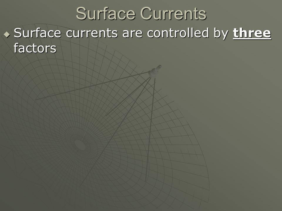 Surface Currents  Surface currents are controlled by three factors