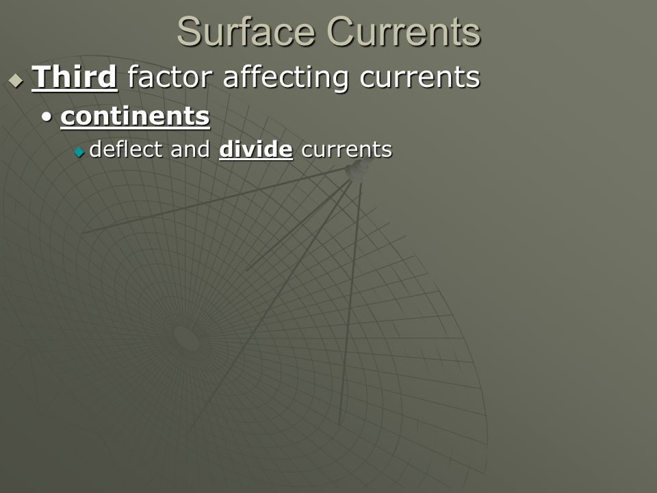 Surface Currents  Third factor affecting currents continentscontinents  deflect and divide currents