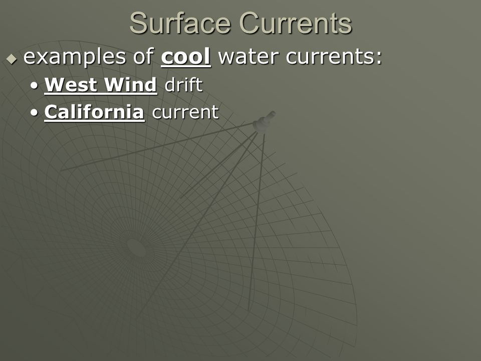 Surface Currents  examples of cool water currents: West Wind driftWest Wind drift California currentCalifornia current