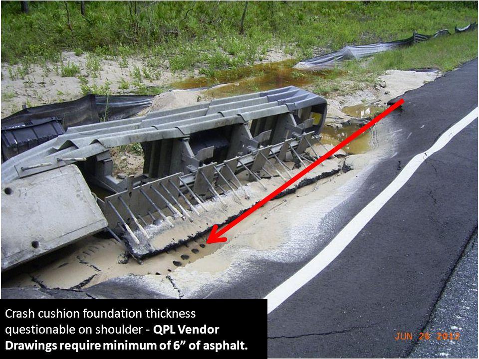 "Crash cushion foundation thickness questionable on shoulder - QPL Vendor Drawings require minimum of 6"" of asphalt."