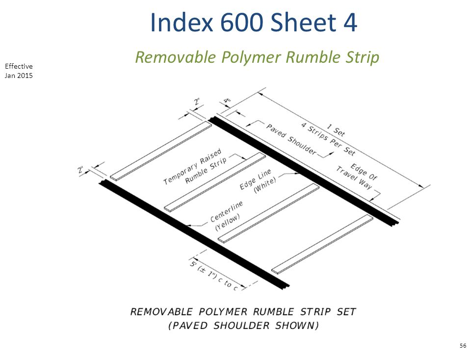 Index 600 Sheet 4 56 Removable Polymer Rumble Strip Effective Jan 2015