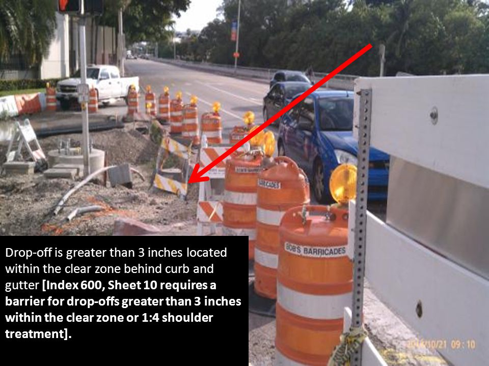 Drop-off is greater than 3 inches located within the clear zone behind curb and gutter [Index 600, Sheet 10 requires a barrier for drop-offs greater t