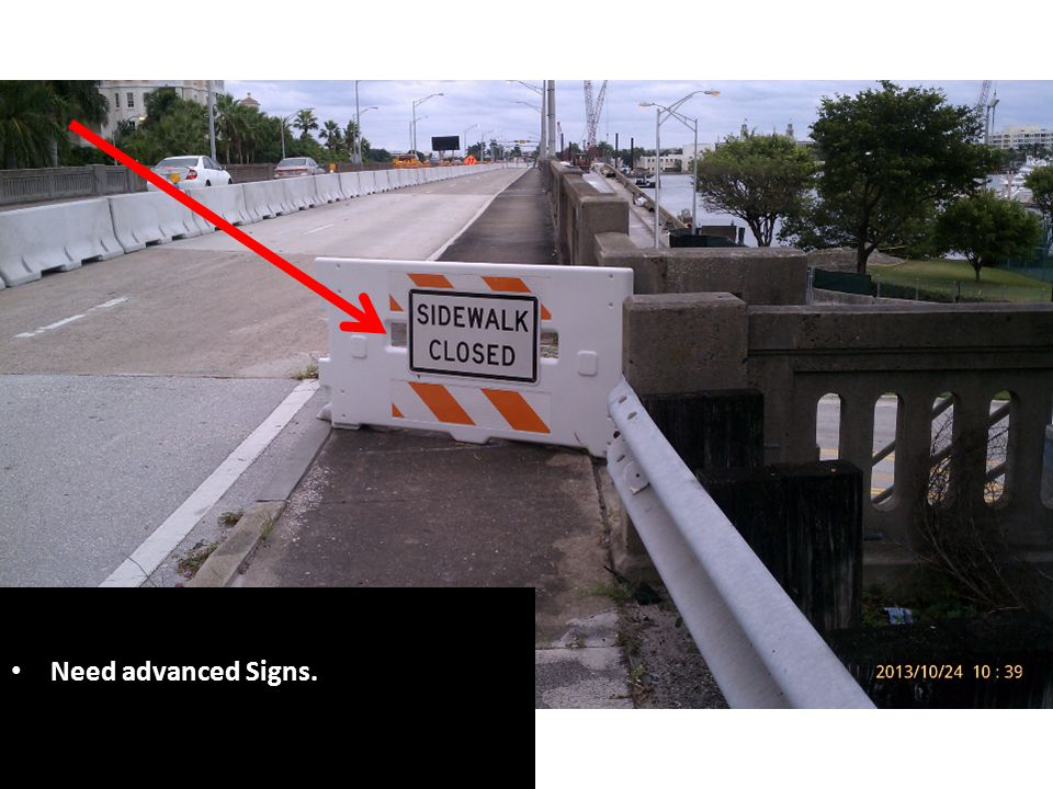 Above ground hazard located in clear zone [Index 600, Sheet 3 requires a 14 clear zone for 35 mph [posted speed limit].