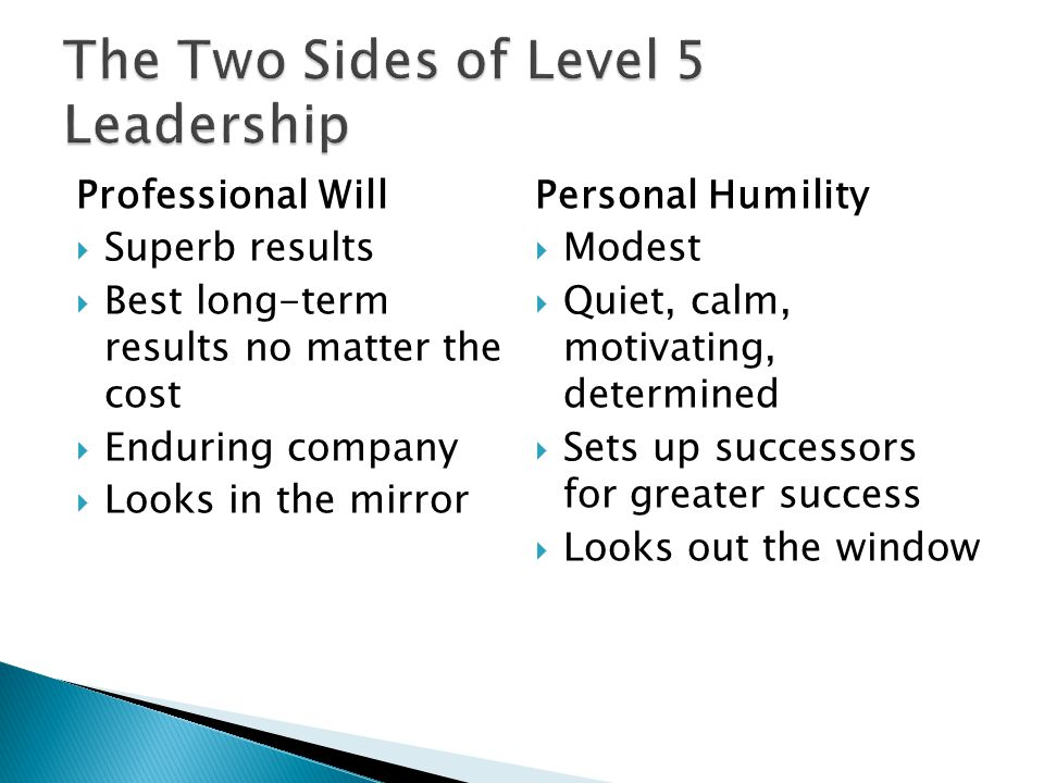 Professional Will  Superb results  Best long-term results no matter the cost  Enduring company  Looks in the mirror Personal Humility  Modest  Quiet, calm, motivating, determined  Sets up successors for greater success  Looks out the window
