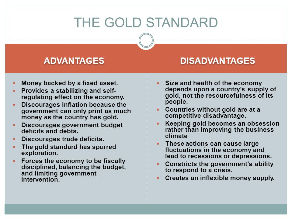ADVANTAGES DISADVANTAGES Money backed by a fixed asset.