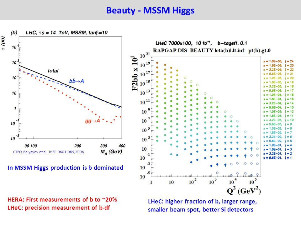 Beauty - MSSM Higgs In MSSM Higgs production is b dominated HERA: First measurements of b to ~20% LHeC: precision measurement of b-df CTEQ Belyayev et