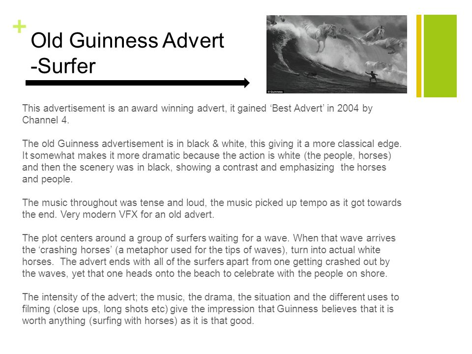 + Old Guinness Advert -Surfer This advertisement is an award winning advert, it gained 'Best Advert' in 2004 by Channel 4.