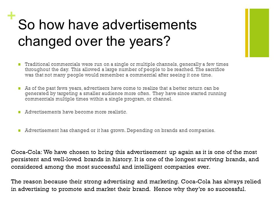+ So how have advertisements changed over the years.