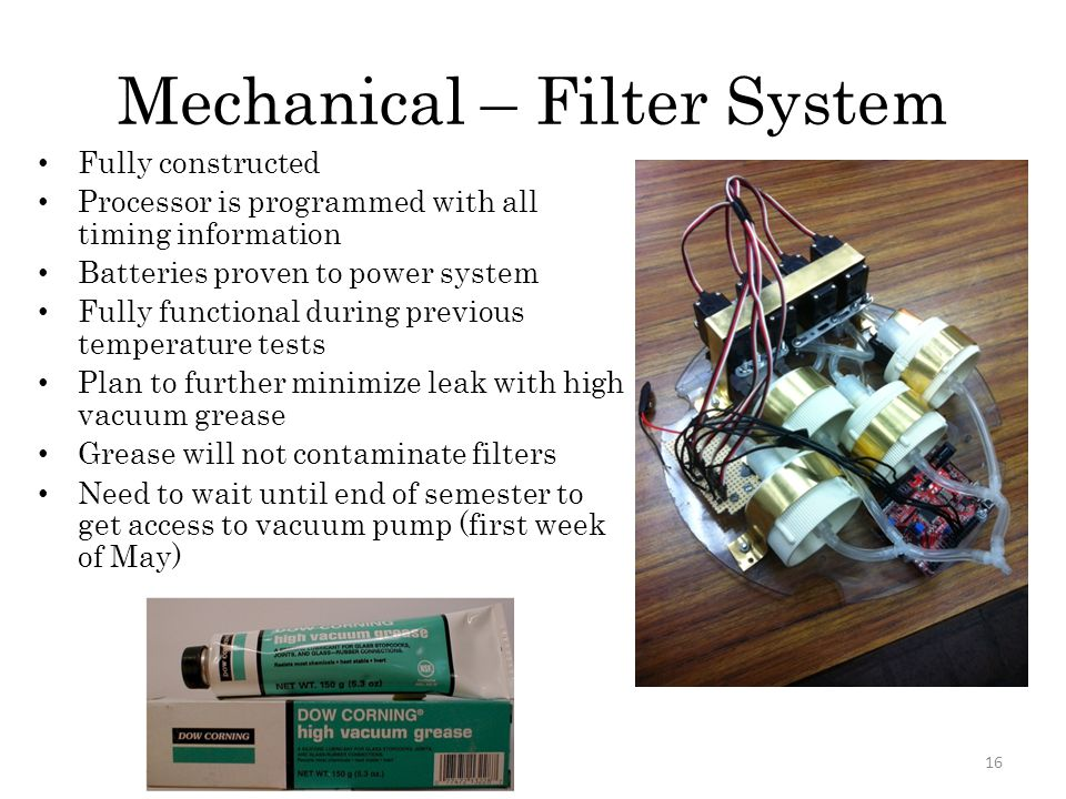 Mechanical – Filter System Fully constructed Processor is programmed with all timing information Batteries proven to power system Fully functional dur