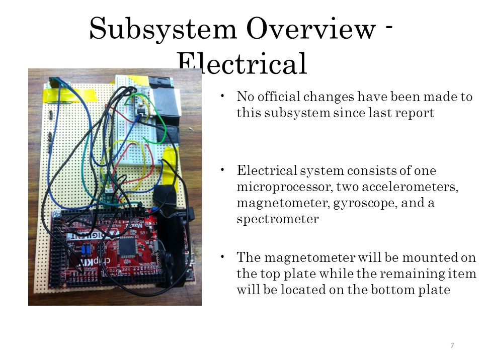 Subsystem Overview - Electrical 7 No official changes have been made to this subsystem since last report Electrical system consists of one microproces