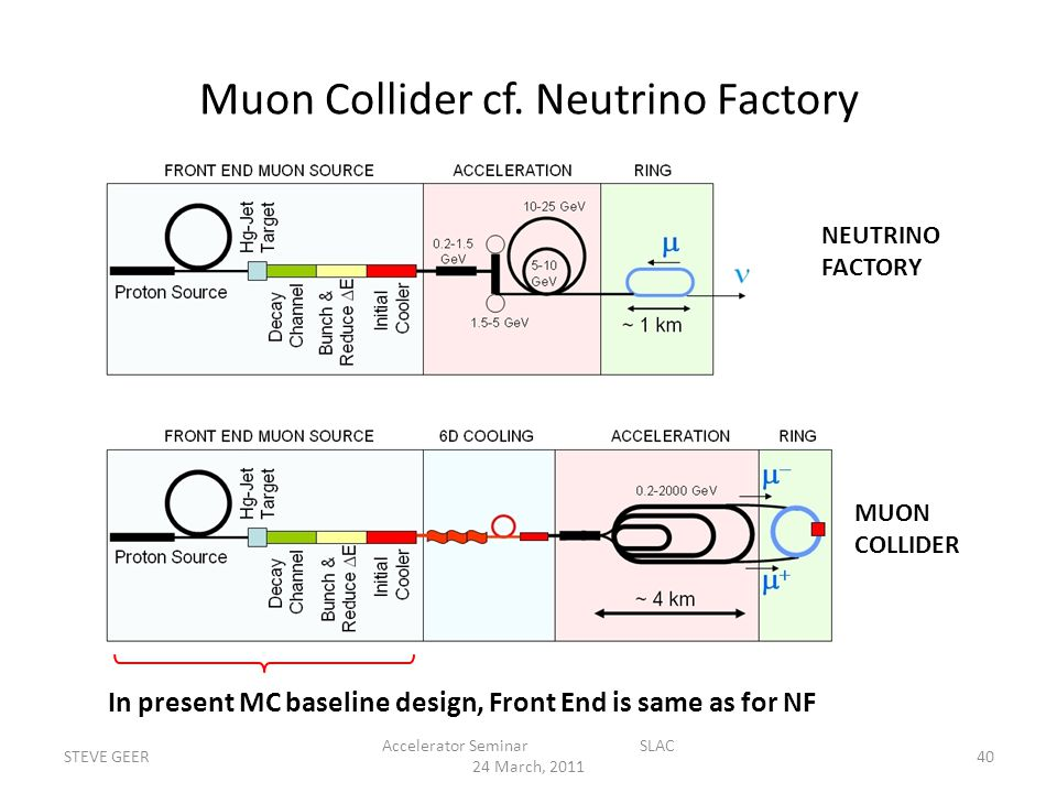 Muon Collider cf. Neutrino Factory STEVE GEER Accelerator Seminar SLAC 24 March, 2011 40 NEUTRINO FACTORY MUON COLLIDER In present MC baseline design,
