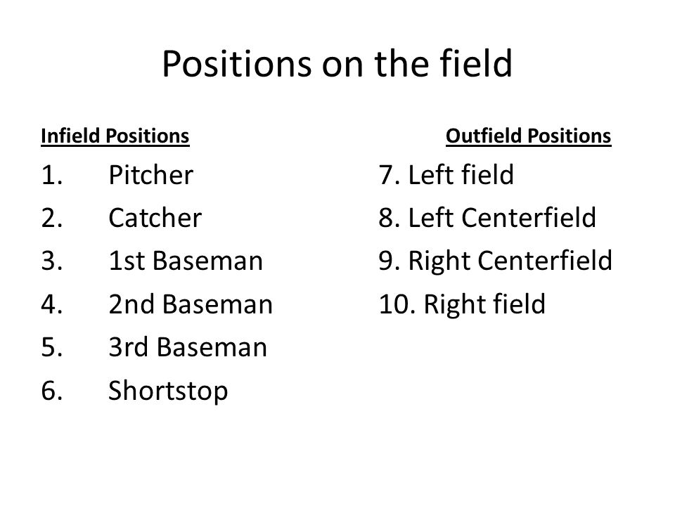 Positions on the field Infield PositionsOutfield Positions 1.Pitcher 7.