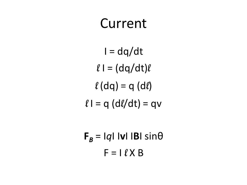 Current I = dq/dt l I = (dq/dt) l l (dq) = q (d l ) l I = q (d l /dt) = qv F B = IqI IvI IBI sinθ F = I l X B