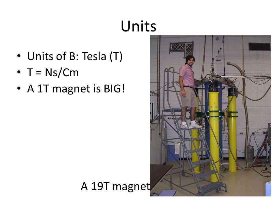 Units Units of B: Tesla (T) T = Ns/Cm A 1T magnet is BIG! A 19T magnet
