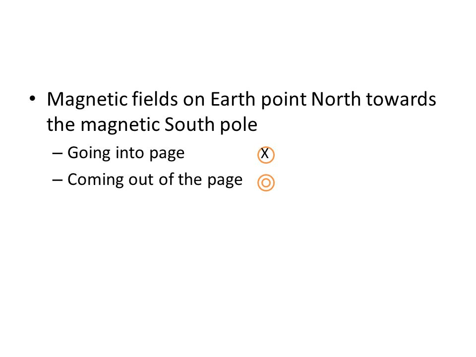 Magnetic fields on Earth point North towards the magnetic South pole – Going into page X – Coming out of the page