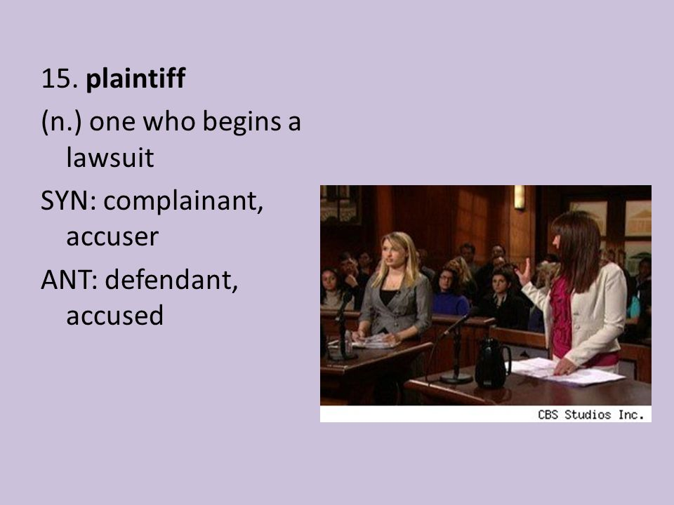 15. plaintiff (n.) one who begins a lawsuit SYN: complainant, accuser ANT: defendant, accused
