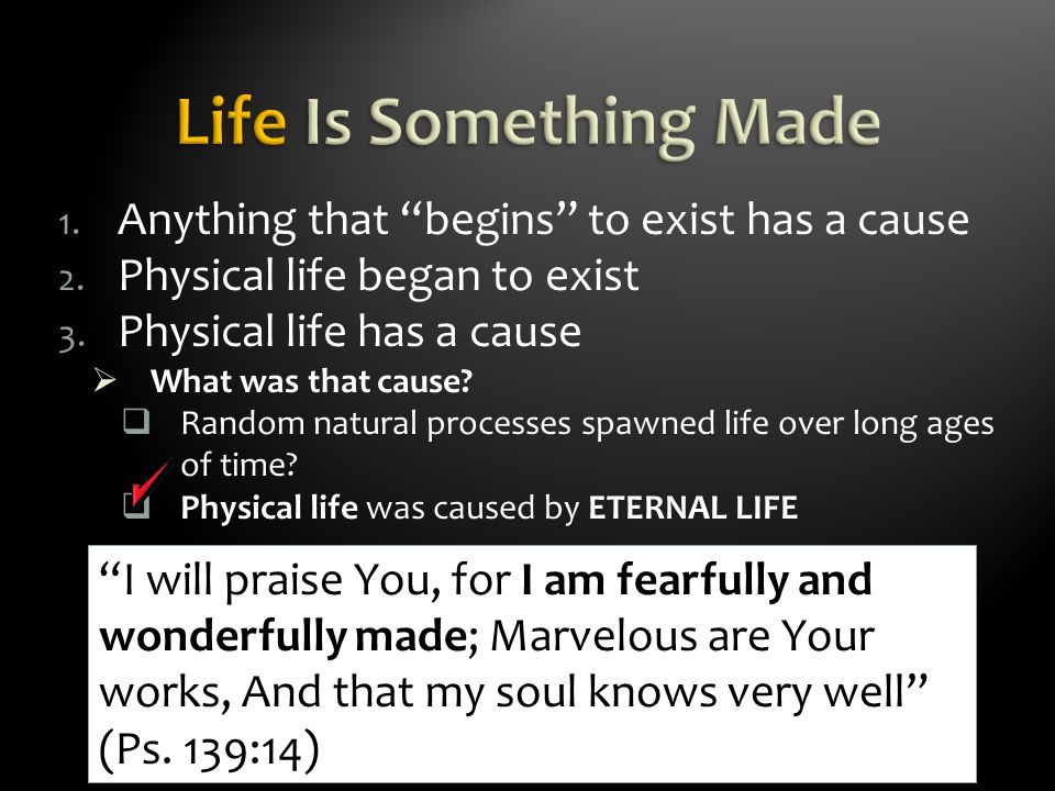 The Atheist: life began from non-living material through purely natural processes  Presupposition: In the beginning was only matter and energy  The Cosmos is all that is or ever was or ever will be (Carl Sagan, Cosmos, New York: Random House,1980, p.