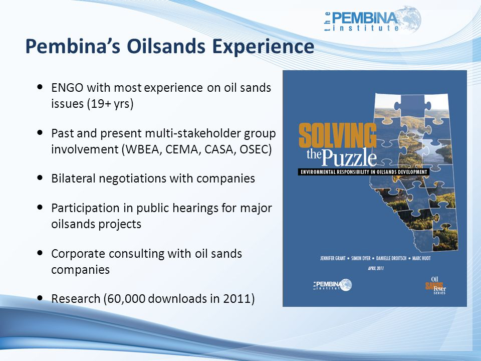 Pembina's Oilsands Experience ENGO with most experience on oil sands issues (19+ yrs) Past and present multi-stakeholder group involvement (WBEA, CEMA, CASA, OSEC) Bilateral negotiations with companies Participation in public hearings for major oilsands projects Corporate consulting with oil sands companies Research (60,000 downloads in 2011)