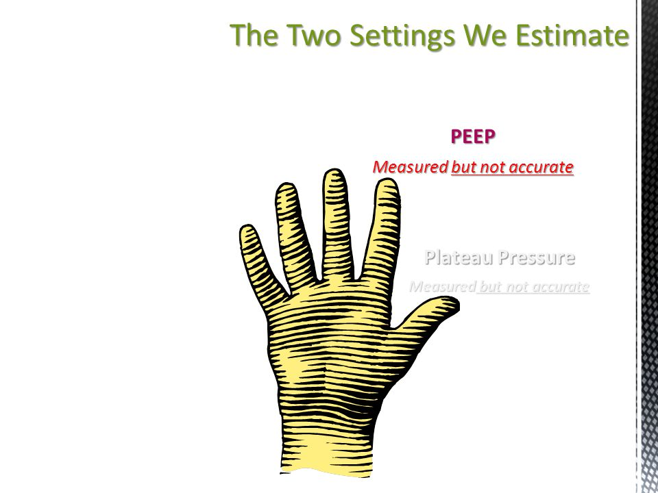 The Two Settings We Estimate PEEP Measured but not accurate Plateau Pressure Measured but not accurate