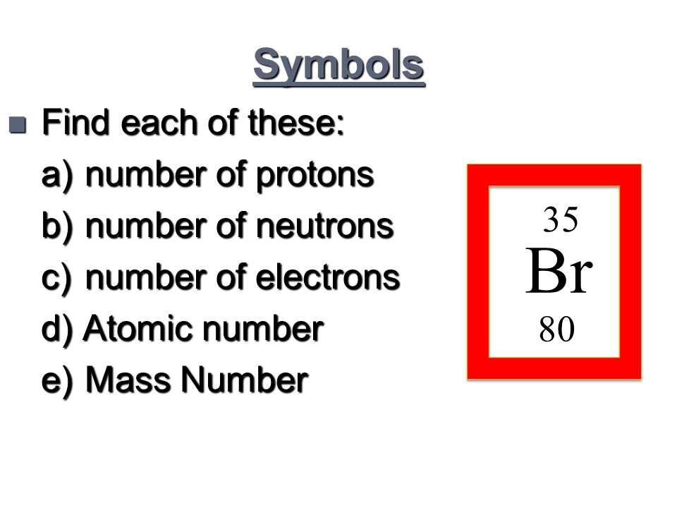Symbols n Find each of these: a) number of protons b) number of neutrons c) number of electrons d) Atomic number e) Mass Number Br 80 35