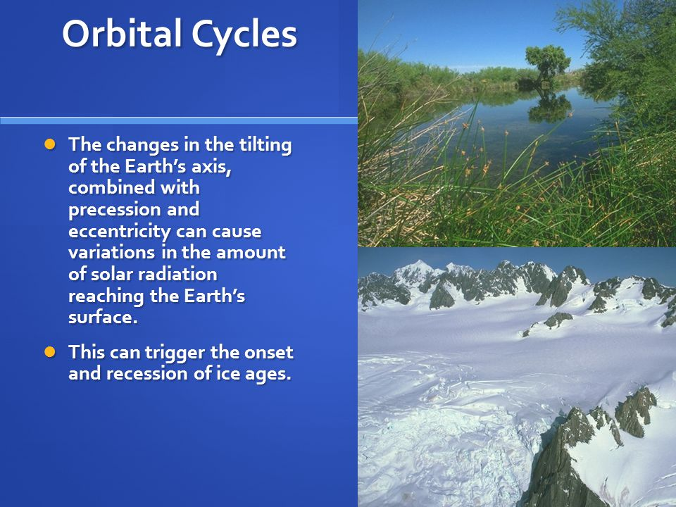 Orbital Cycles The changes in the tilting of the Earth's axis, combined with precession and eccentricity can cause variations in the amount of solar radiation reaching the Earth's surface.