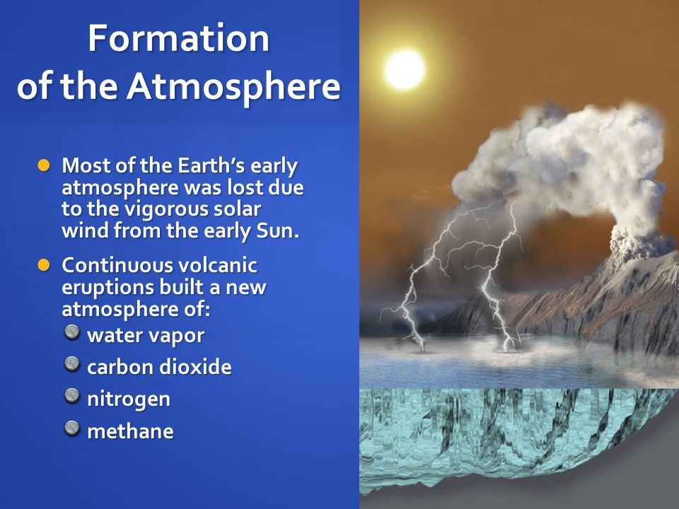 Formation of the Atmosphere Most of the Earth's early atmosphere was lost due to the vigorous solar wind from the early Sun.
