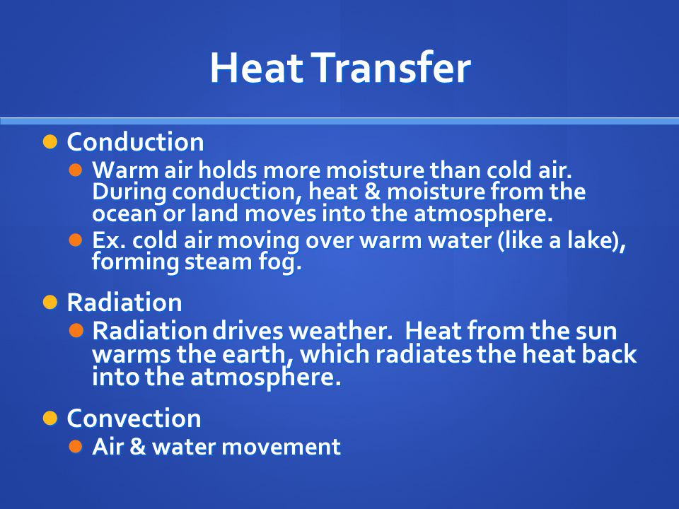 Heat Transfer Conduction Conduction Warm air holds more moisture than cold air.