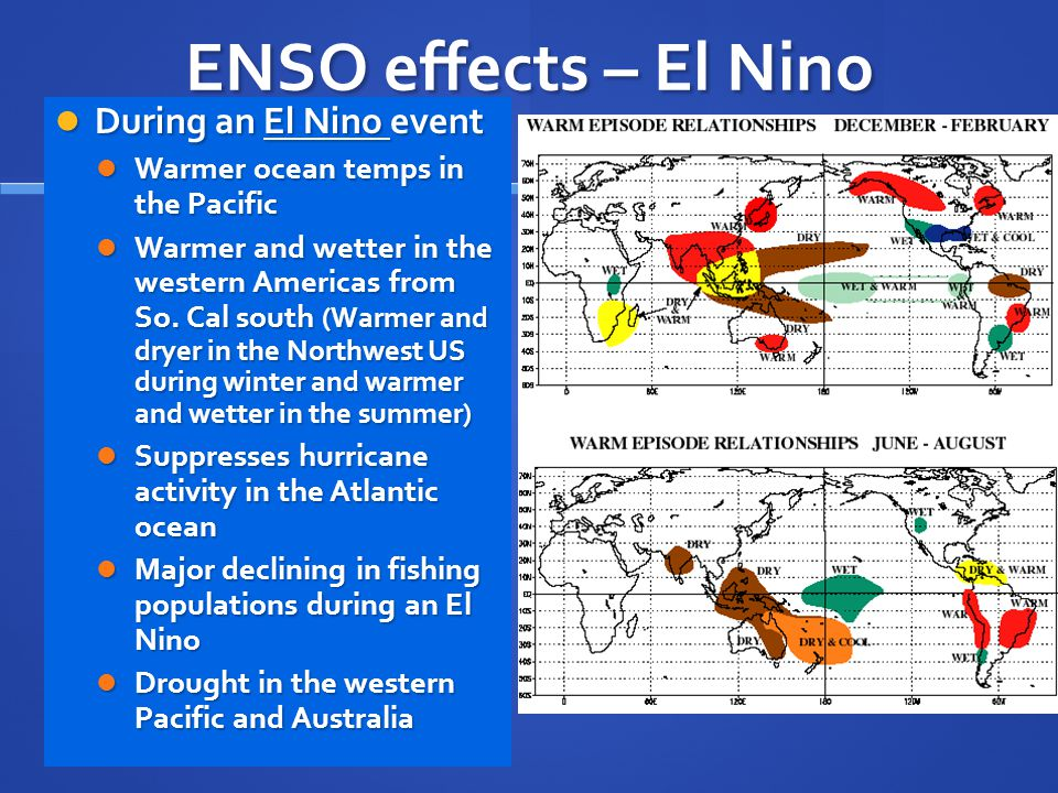 ENSO effects – El Nino During an El Nino event During an El Nino event Warmer ocean temps in the Pacific Warmer ocean temps in the Pacific Warmer and wetter in the western Americas from So.