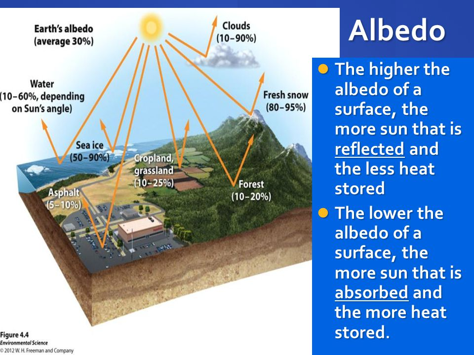 Albedo The higher the albedo of a surface, the more sun that is reflected and the less heat stored The lower the albedo of a surface, the more sun that is absorbed and the more heat stored.
