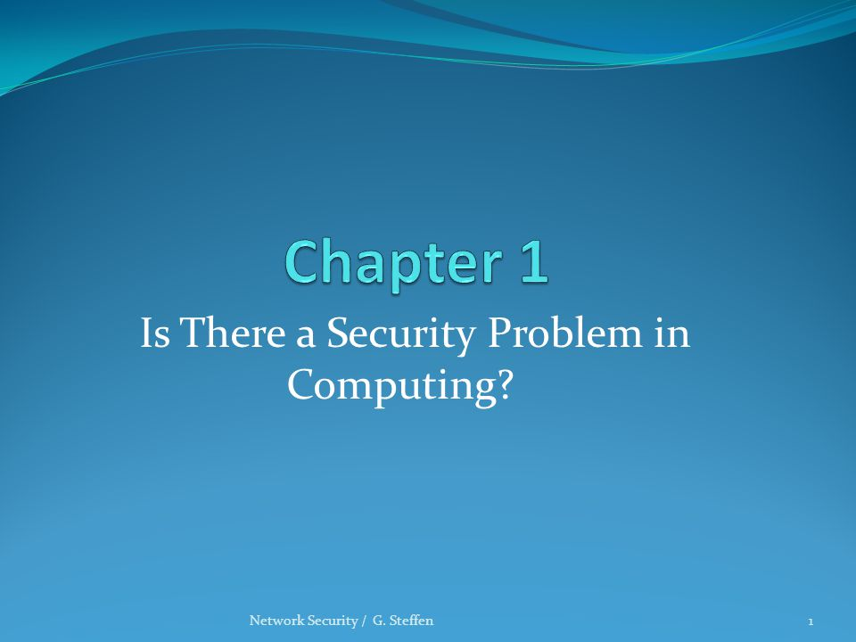 Is There a Security Problem in Computing? Network Security / G. Steffen1