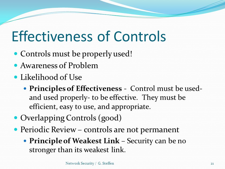 Effectiveness of Controls Controls must be properly used! Awareness of Problem Likelihood of Use Principles of Effectiveness - Control must be used- a