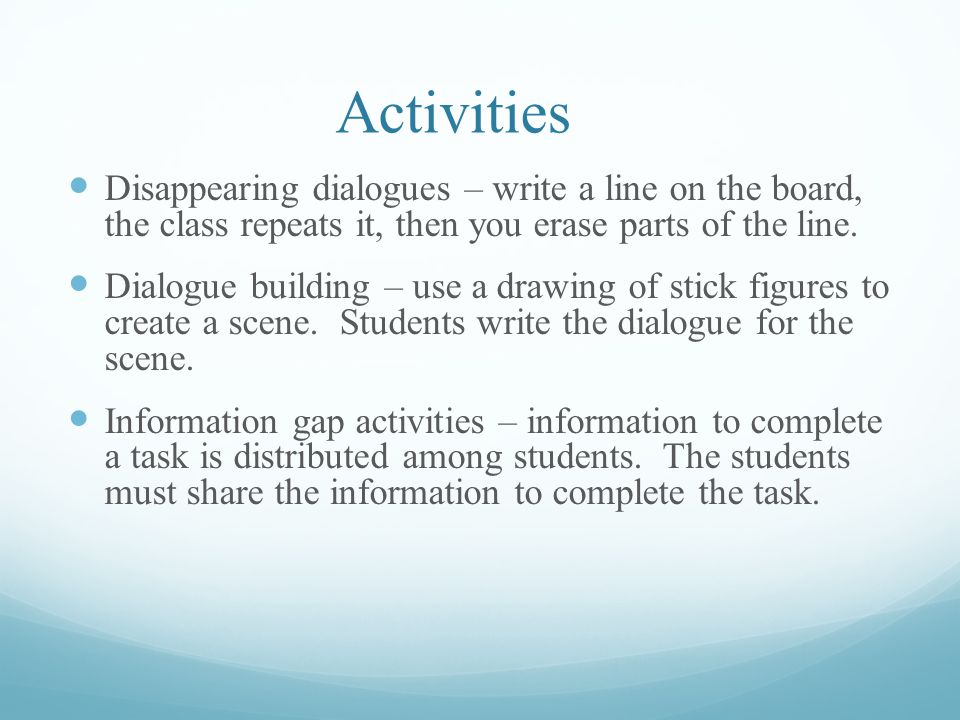 Managing Activities It may be easier to manage large classes during activities if: students and the teacher define the activity's rules together at the beginning the teacher is consistent in applying the rules and doesn t show favoritism to some students the teacher rewards good behavior by simple praise or with a smiley face sticker the pace of the game keeps moving even if some students are misbehaving so that they miss out but the rest of the class does not noisy games are followed by quiet games