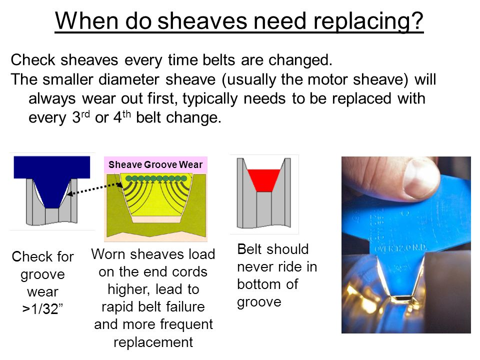 Worn sheaves load on the end cords higher, lead to rapid belt failure and more frequent replacement Belt should never ride in bottom of groove Check for groove wear >1/32 Sheave Groove Wear When do sheaves need replacing.