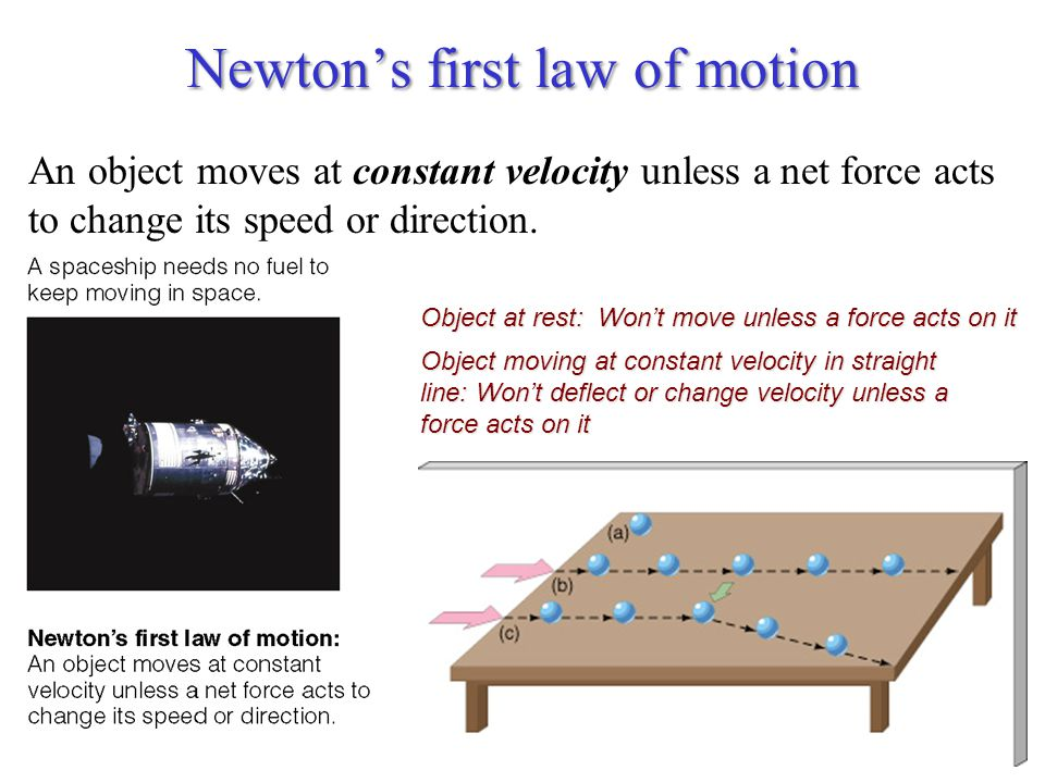 Newton's first law of motion An object moves at constant velocity unless a net force acts to change its speed or direction.