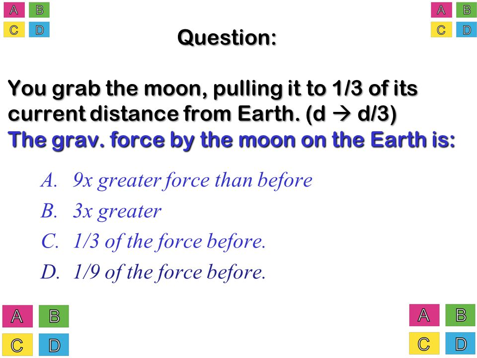 Question: You grab the moon, pulling it to 1/3 of its current distance from Earth.