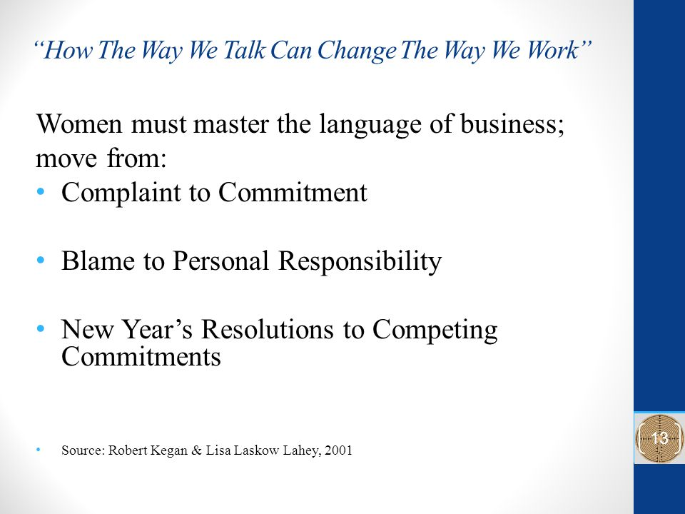 How The Way We Talk Can Change The Way We Work Women must master the language of business; move from: Complaint to Commitment Blame to Personal Responsibility New Year's Resolutions to Competing Commitments Source: Robert Kegan & Lisa Laskow Lahey, 2001 13