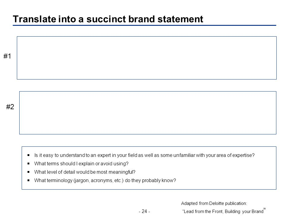 - 24 - Translate into a succinct brand statement Adapted from Deloitte publication: Lead from the Front, Building your Brand  Is it easy to understand to an expert in your field as well as some unfamiliar with your area of expertise.