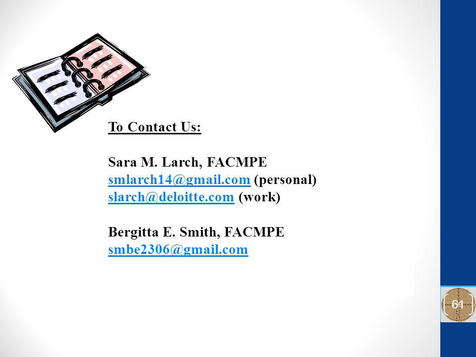 To Contact Us: Sara M.