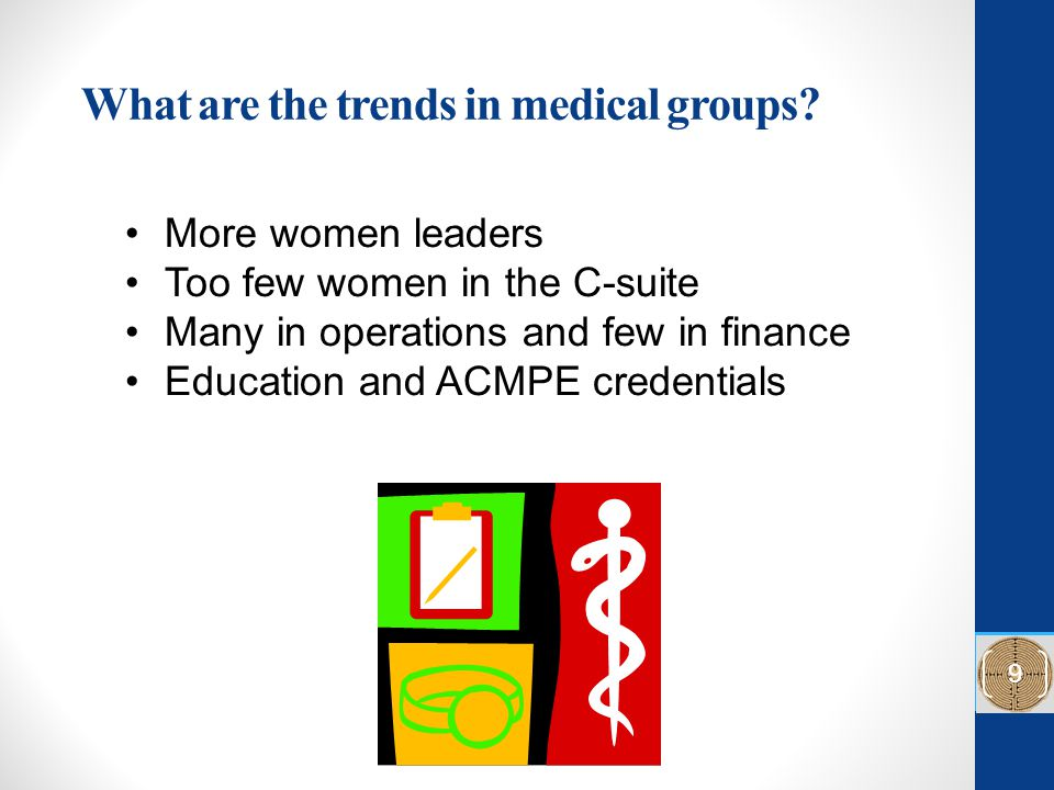 What are the trends in medical groups? More women leaders Too few women in the C-suite Many in operations and few in finance Education and ACMPE crede