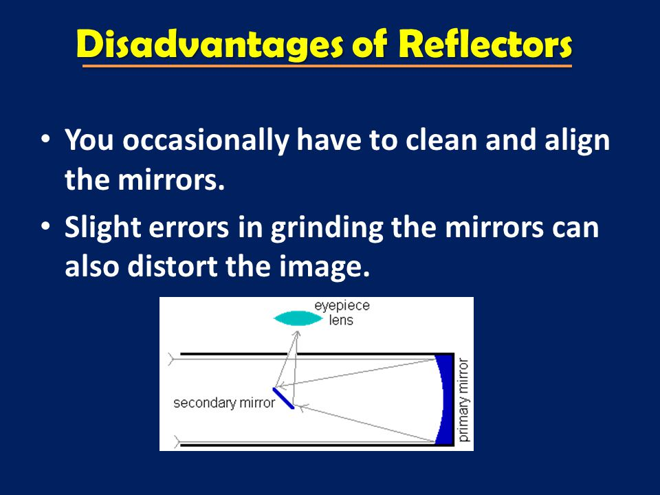 Disadvantages of Reflectors You occasionally have to clean and align the mirrors.