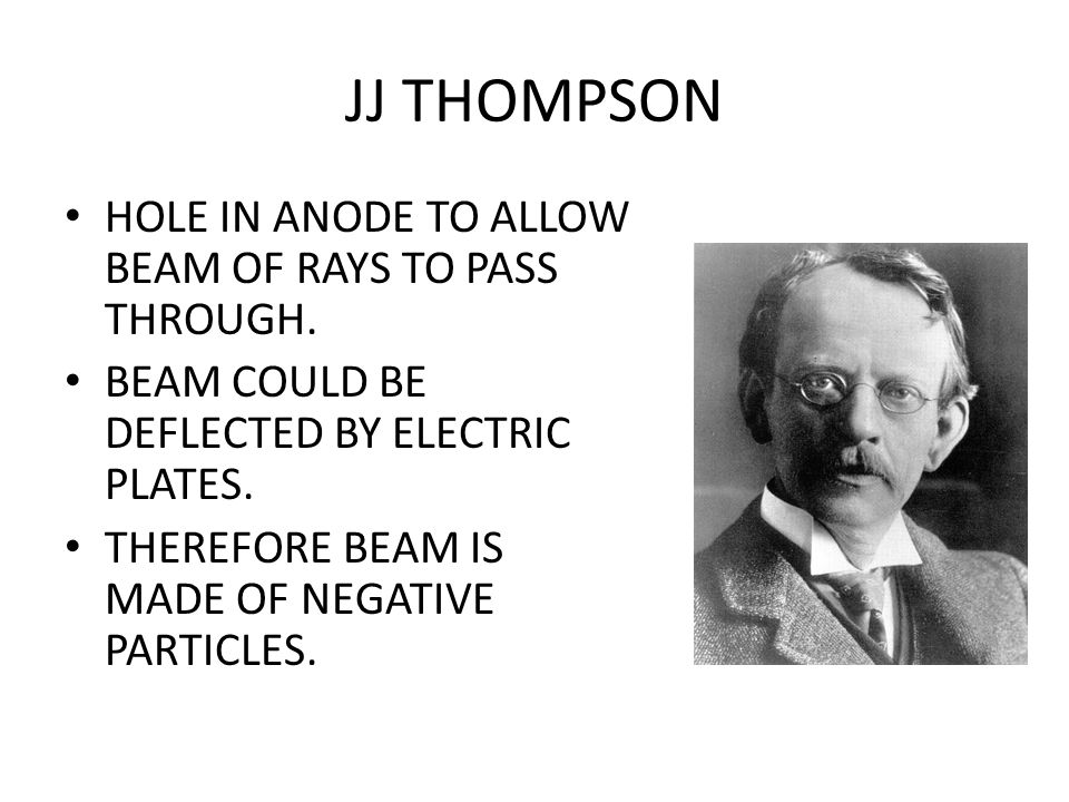 JJ THOMPSON HOLE IN ANODE TO ALLOW BEAM OF RAYS TO PASS THROUGH.