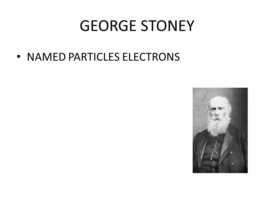 GEORGE STONEY NAMED PARTICLES ELECTRONS