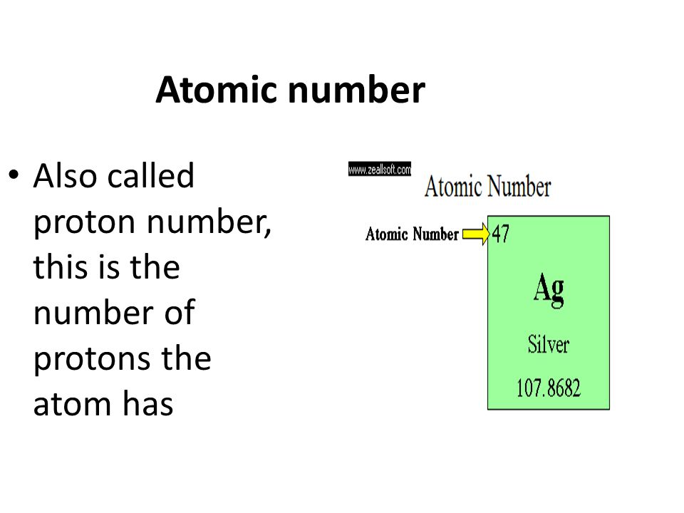 Atomic number Also called proton number, this is the number of protons the atom has
