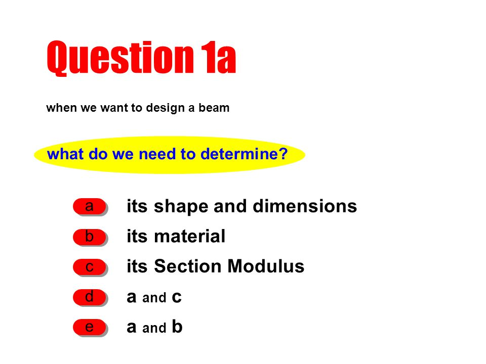 Question 1a when we want to design a beam its shape and dimensions a its material b its Section Modulus c what do we need to determine? a and c d a an