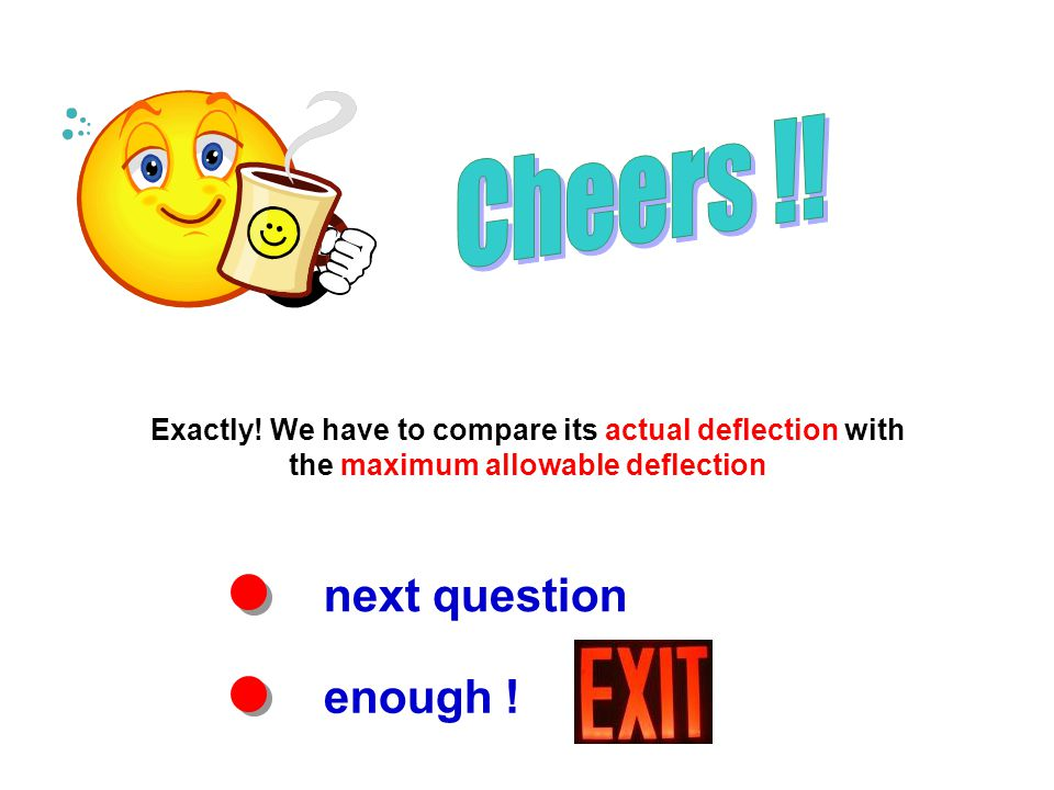 next question enough ! Exactly! We have to compare its actual deflection with the maximum allowable deflection