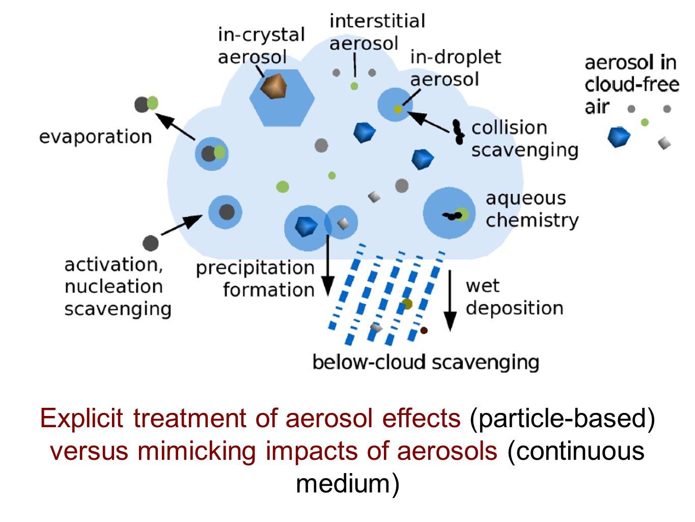 Explicit treatment of aerosol effects (particle-based) versus mimicking impacts of aerosols (continuous medium)