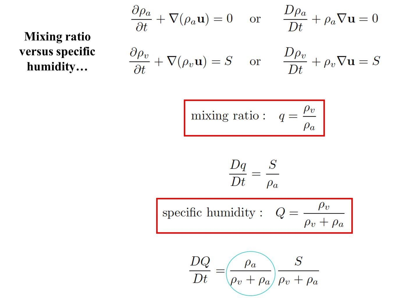 Mixing ratio versus specific humidity…